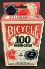 Bicycle 100 Count Poker Chips Red, Ivory & Blue FREE SHIPPING