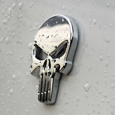 Punisher Scull CROME Car Sticker da Metal autoadesivo Death Head BIKE AUTO