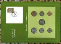 Coin Sets of All Nations Guernsey wcard 1979-1983 UNC £1,20,50 Pence 1983 26OC84