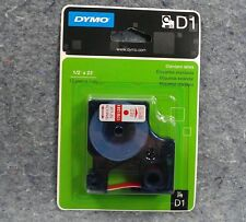Dymo Adhesive Label Tape Roll D1 Standard Refill Red White 12 X 23 1761281