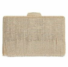 INC Bertha Gold Clutch Crystal Fringe with strap Handbag
