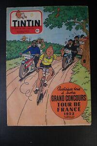 RARE JOURNAL TINTIN N° 245 1953 SUPERBE COUVERTURE HERGE TOUR DE FRANCE VELO TBE