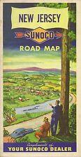 1952 SUNOCO Oil Can Road Map NEW JERSEY Atlantic City Trenton Union Rand McNally
