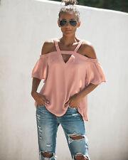 Women Chiffon Cold Shoulder Blouse Top Loose Cross Bandage Short Sleeve T-shirts Pink 8