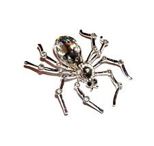 Giant Knobby Knees Spider Brooch/Pin Clear Rhinestones & Silvertone