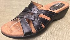 Women's sandals Earth Black leather Slides slip ons Size 7 M