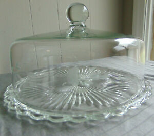 Princess House HERITAGE Etched Cake Dome With Scalloped Edge Plate #068