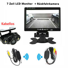 "Funk Kabellos Rückseiten Kamera + 7"" LCD Monitor Rückfahrkamera Set KFZ Bus LKW"