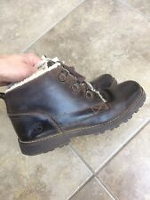 WOMENS TIMBERLAND BROWN LEATHER FUR SHOES UK 5 LACE UP BOOTS ANKLE TRAINERS