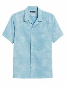 Banana Republic Men's Slim-Fit Linen-Cotton Resort Shirt Fresh Teal XL #569921