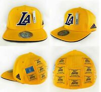 Los Angeles Lakers Fitted NBA Flat Brim 16X Champions Cap Hat Adult By Adidas