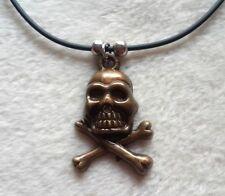 New Skull Pendant Black Leather Cord Charm Necklace  Retro Hip Hop Hippie