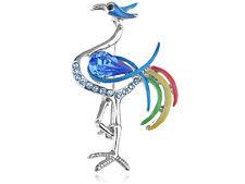Multi Color Enamel Clear Stylish Rhines Crane Bird Pin Brooch Xmas Party Gift