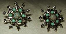 Vintage Star Burst Faux Turquoise & Opal Screw On Earrings