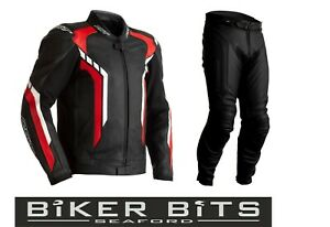 RST AXIS 2020 Black/Red/White CE Men's Leather Budget Jacket & Trousers 2PC Set