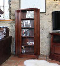 La Roque Dark Wood Media Storage Cupboard Unit 5 Shelves CD DVD Solid Mahogany