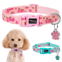 Floral Nylon Dog Collars and Personalised Glitter Paw Tags Anti-lost Pink S M L