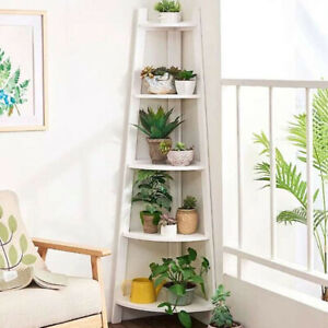 Corner Shelf Rack 5 Tier Office Organiser Unit Ladder Bookcase Storage Rack