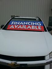 $ CAR DEALER LOT WINDSHIELD BANNER ADVERTISE BUCKO ~ Financing Avilable