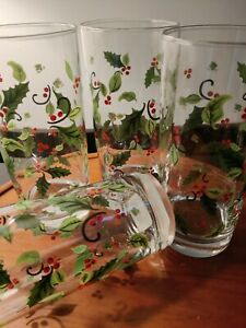Libbey HOLLY & BERRIES GLASSES - Set of 4 TUMBLERS Holiday Barware Christmas