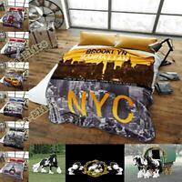 Faux Fur Throws Fleece Blanket Mink Sofa Bed Luxury Double Soft Warm Printed