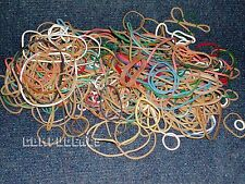 Assorted Rubber bands in various Colors, Sizes. 3 oz +., about 300 ct. + -