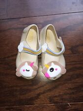 Girls Beige Unicorn Jelly Shoes Size 7 new in bag .
