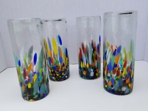 HAND BLOWN HIGHBALL HALF CONFETTI SET OF 4 ***PROMOTIONAL DISCOUNT SAVE 5%***