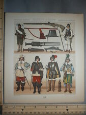 Rare Antique Orig VTG France Military Costumes Weapons Pistols Color Litho Print