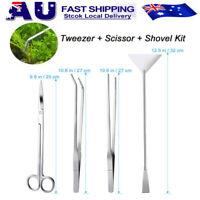 4pcs Aquarium Tank Aquatic Plant Tweezers Scissors spatula Tool Set Starter Kits