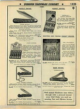 "1935 ADVERT Hunting Pattern 5"" Press Button Pocket Knife Knives Presto Display"