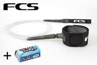 FCS 6' Ice Freedom Surfboard Leash + Wax