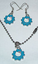 Blue Hello Kitty Earrings and Necklace on Stainless Steel Chain made in the USA