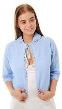 Ladies Knitted Nightwear Bed Jackets Crochet Design by Lady Olga 12-14 Blue