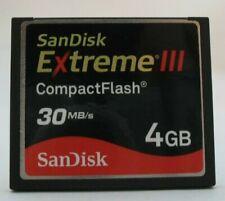 4GB SANDISK EXTREME III COMPACTFLASH 30 MB/S CF COMPACT FLASH MEMORY CARD 4G B