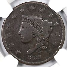 1839/6 N-1 NGC F 12 Head of 36 Matron or Coronet Head Large Cent Coin 1c