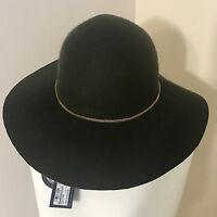 Ladies Marks Spencer's Khaki Green Wool Fedora Hat Gold Chain Accessories S/M