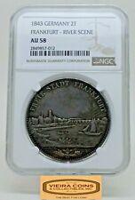 1843 Germany 2 Thaler Frankfurt River Scene, NGC AU 58, Low Mintage -  #B18995