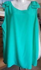 Green Sleeveless Top Shoulder Bow Detail size 24 by Moda (AV11)