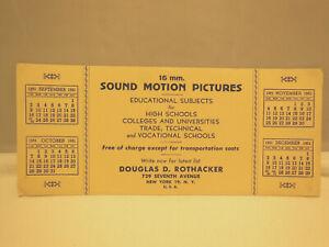 VINTAGE 1951 ADVERTISING INK BLOTTER 16mm SOUND MOTION PICTURES ROTHACKER N.Y.