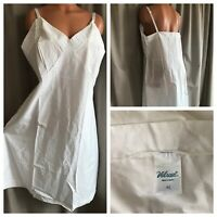 """VTG 90's Velrose Wedding White Crisp Cotton Slip Plus Size 42"""" NOS"""