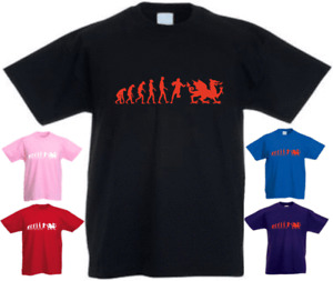 Ape Human Wales Rugby Evolution  New Funny Kids Present Gift Birthday T-shirt
