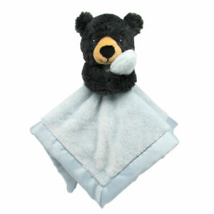 Carters Black Bear Blue Security Blanket Plush Satin Baby Lovey Toy 67361 NEW