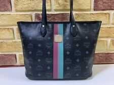 100% Authentic MCM Black Trim Visetos Shopper Shoulder Bag