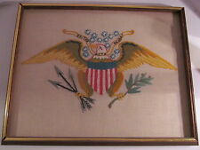 Handmade Folk Art Needlepoint Eagle Exitus Acta Probat