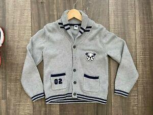 Janie and Jack Boy's Varsity Bulldog Shawl Sweater: Gray and Navy, Size 7