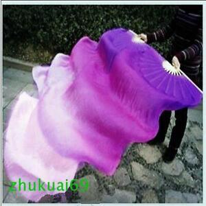 2 Pcs 100% Silk Belly Dance Fan Veil Purple/Light Purple/Light Pink(1.5m 1.8m)