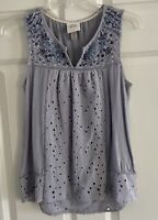 KNOX ROSE Crochet Embroidered Eyelet Sleeveless Tank Top Blouse Women's Size XS