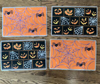 Set Of 4 Halloween plastic Placemats Spiders Cobwebs Jack-o-lantern