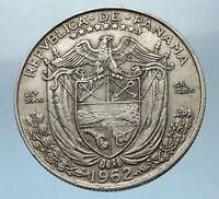 1962 PANAMA Big 3cm Silver Spanish CONQUISTADOR Half BALBOA Coin i68255